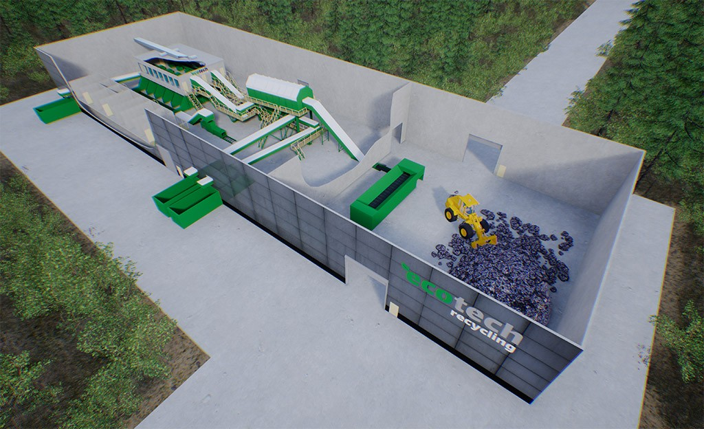 Technological line for MSW and MW recycling productivity 75,000 tons / year