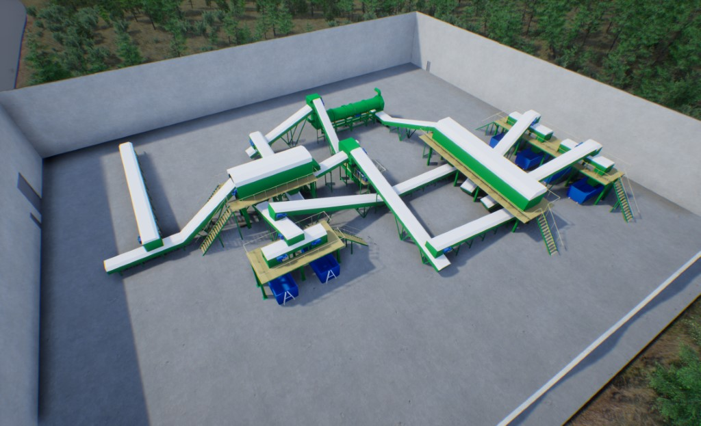 Technologische Linie für die RDF-Brennstofferzeugung mit Kapazität von 25 tausend Tonnen jährlich mit vorbereitender Sortierung.